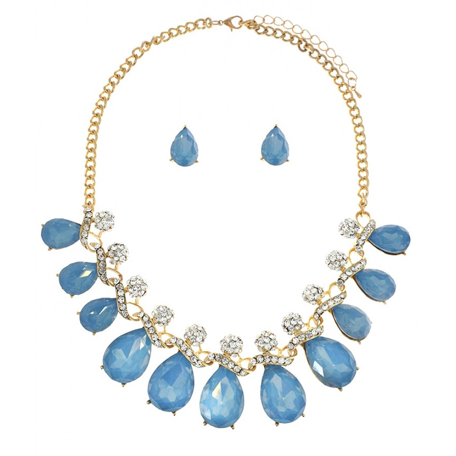 swarovski half swarovskir coeur de lion necklace blue light crystals