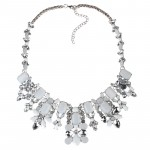 MIGDALIA Ivory Crystal Opal Stone Statement Necklace