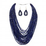 Navy Blue Multi-Strand Beaded Statement Necklace