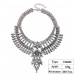 Tenoch Silver Crystal Boho Statement Necklace