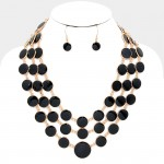 Black Onyx Enamel Dots Multi Layered Necklace Set