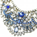 Icy Blue Crystal Art Deco Vintage Statement Necklace