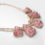 Kaira Blush Rose Druzy Quartz Stone Necklace