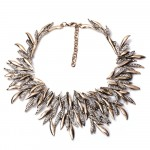 Antique Crystal Encrusted Seaweed Bib Necklace