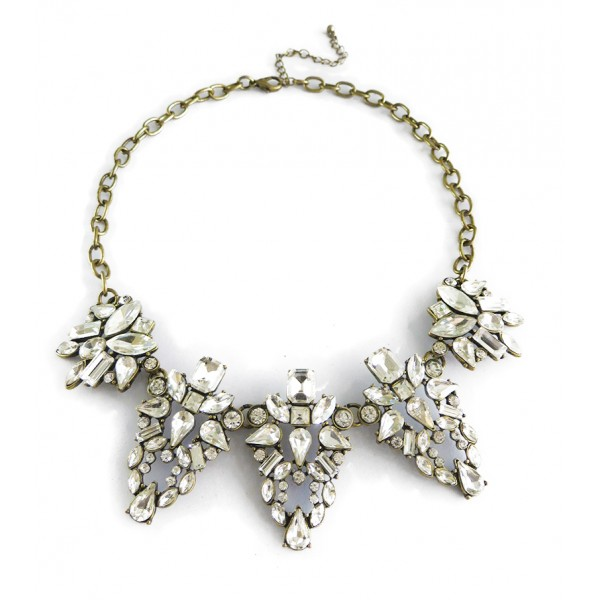 Crystal Wreath Pendant Vintage Bib Necklace