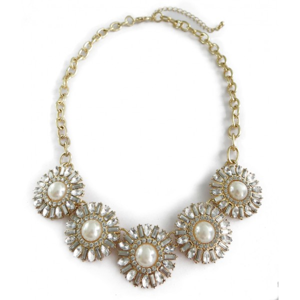Crystal White Daisy Bauble Stone Necklace