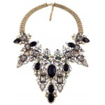 Diagolos Onxy Black Topaz Crystal Cluster Bib Necklace
