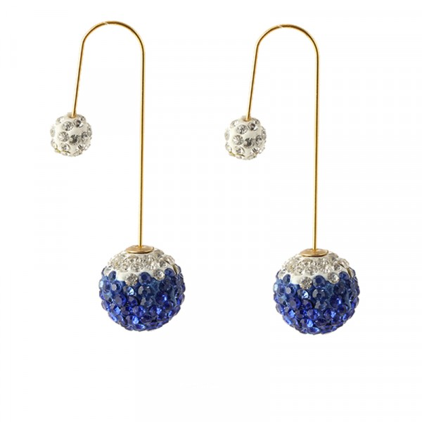 Sapphire Crystal Double Sided Dangle Statement Earrings