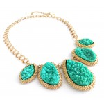 Green Mojova Geode Druzy Stone Bib Necklace