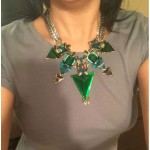 Sultry Hunter Green Triads Statement Necklace