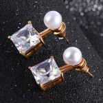Bridal Pearl and CZ Square Ear Jackets