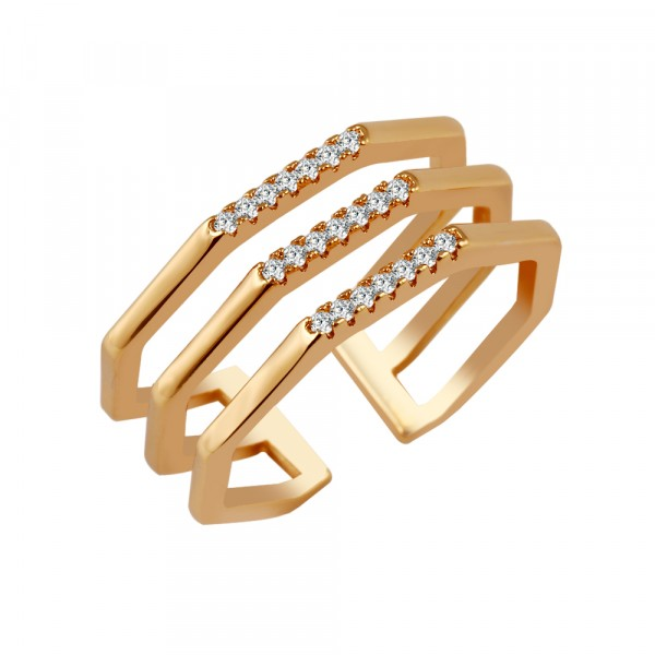 Esme Crystal Encrusted Bar Geo Triple Band Ring