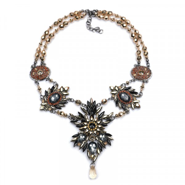 Metallic Crystal Stone Burst Statement Necklace