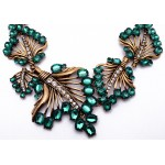 Emerald Green Stone Laurel Bib Necklace