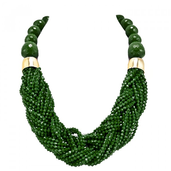 Hunter Green Braided Beads Statement Necklace Set