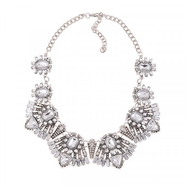 Elsa Ice Quartz Art Deco Crystal Bib Necklace