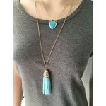 Cobalt Blue Glass Faceted Beaded Tassel Long Necklace