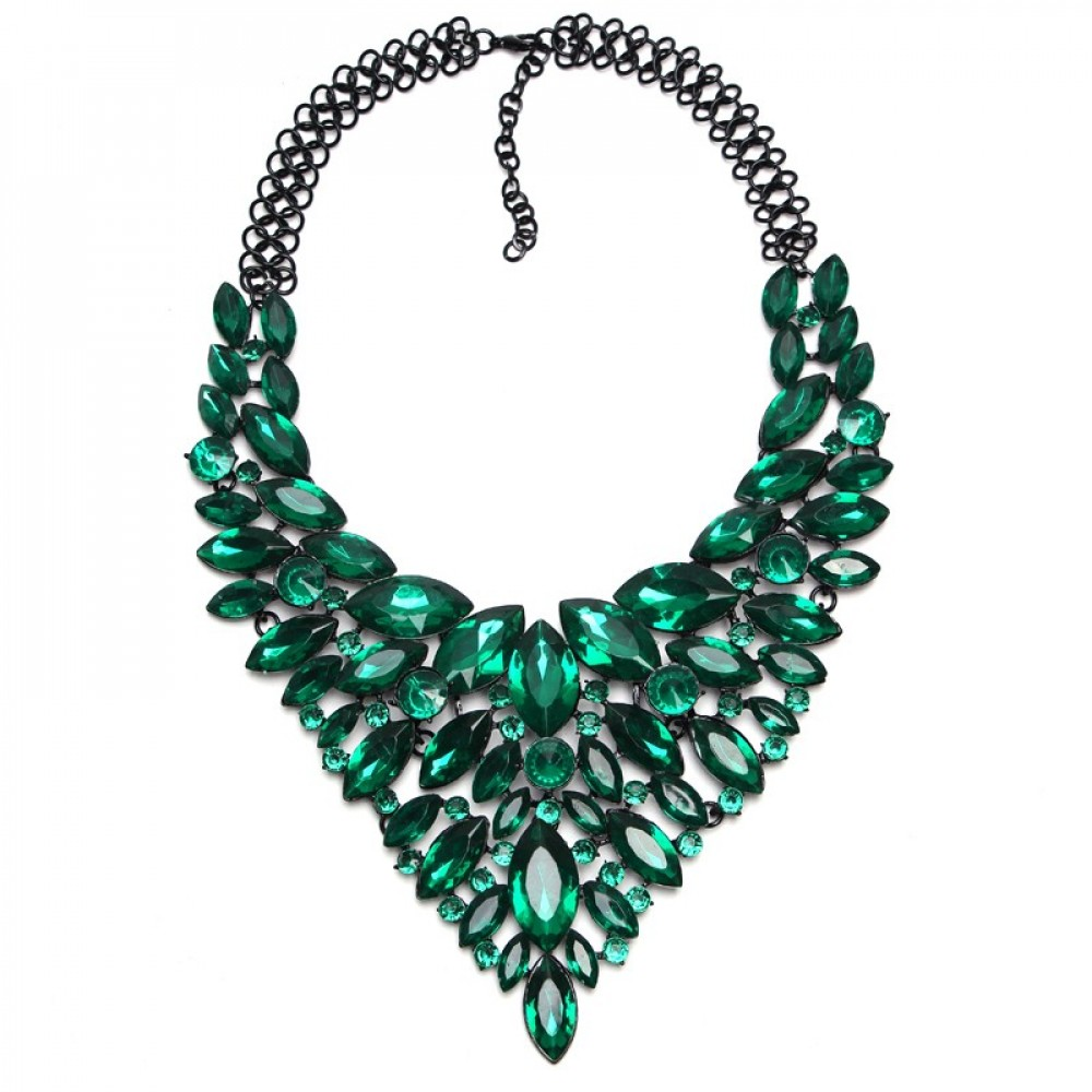 Emerald Marquise Stone Black Chain Statement Necklace - photo#46