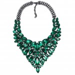 Emerald Marquise Stone Black Chain Statement Necklace
