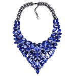 Sapphire Blue Lux Glam Marquise Statement Necklace
