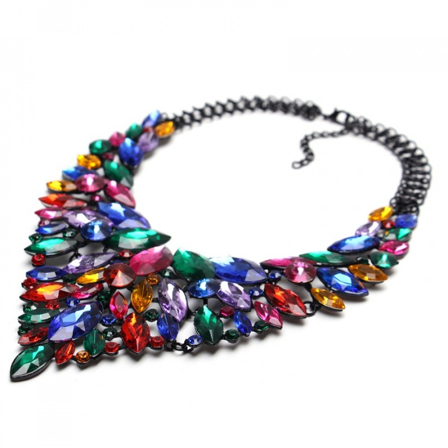 Multicolored Crystal Marquise Cascade Statement Necklace