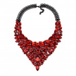 Ruby Red Crystal Marquise Glam Statement Necklace