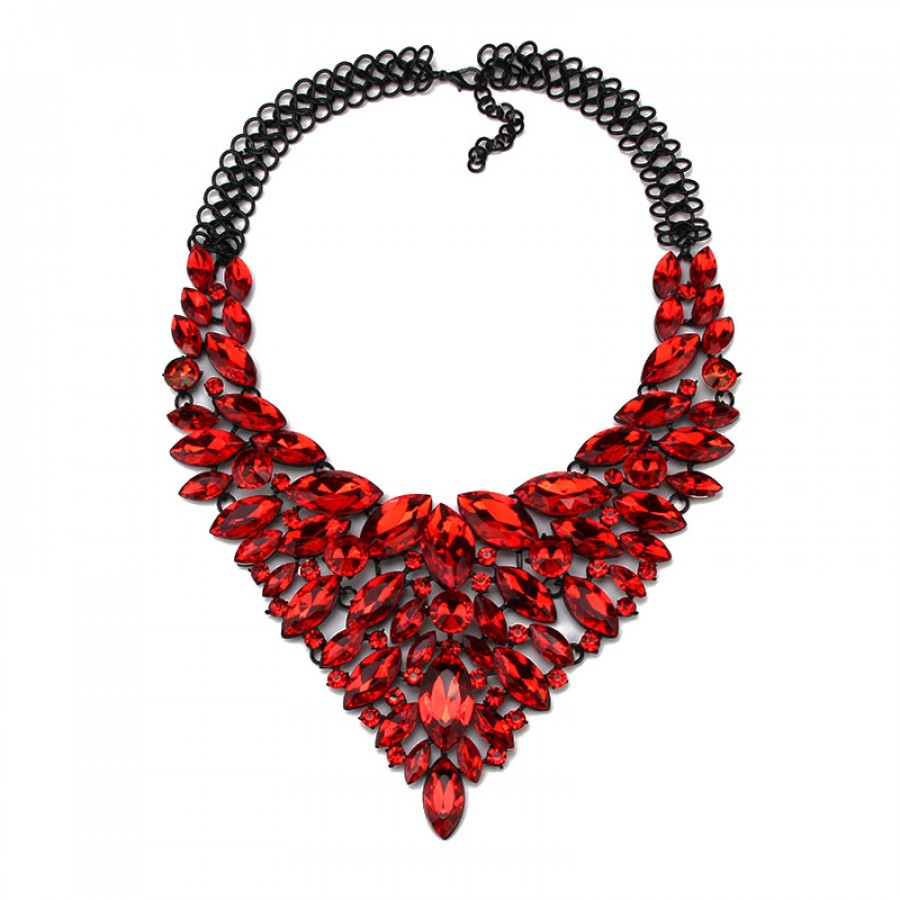 Ruby red crystal marquise cascade statement necklace for Red black and green jewelry