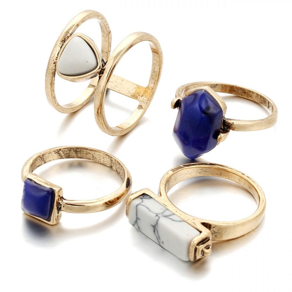 Navy Blue White Marble Stone Boho Gold Ring Set