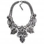 Diagolos Metallic Stone Cluster Bib Necklace