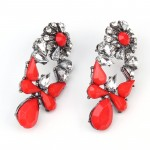 Mia Crystal Red Bauble Statement Earrings