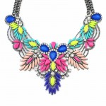 Diagolos Multicolored Stone Cluster Bib Necklace