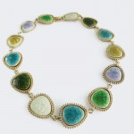 Multicolored Cracked Druzy Fragments Linked Bib Necklace