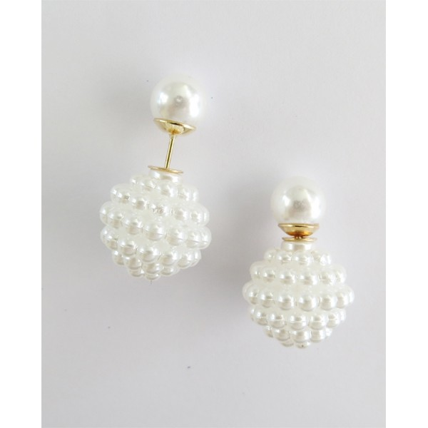 Ivory Pearls Double Sided 360 Statement Earrings