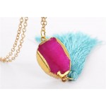 Hot Pink Oval Druzy Stone Neon Tassel Long Necklace