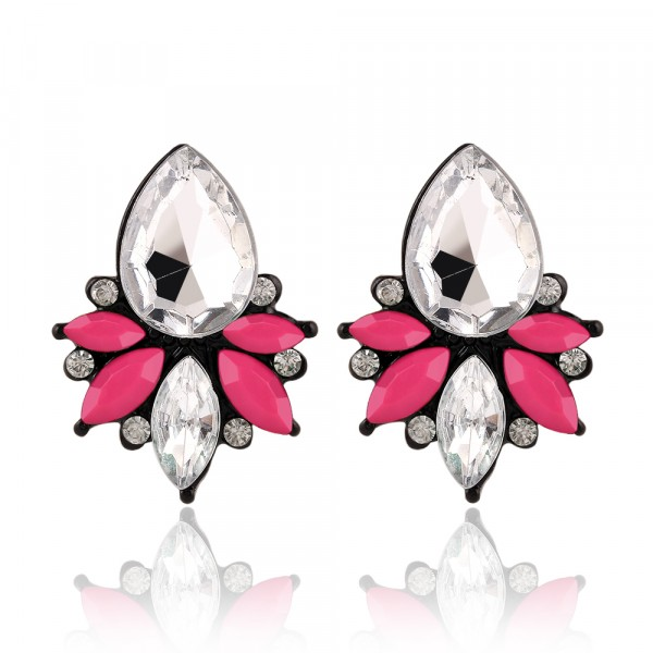 Angel Neon Pink Marquise Crystal Stud Earrings