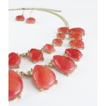 Indian Red Teardrop Double Row Necklace