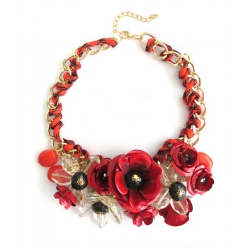 Red Roses 3D Flower Threaded Statement Necklace