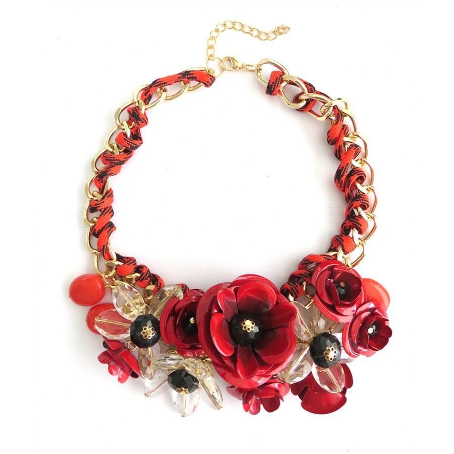 Red Rose Bouquet 3D Flower Fashion Bib Statement Necklace