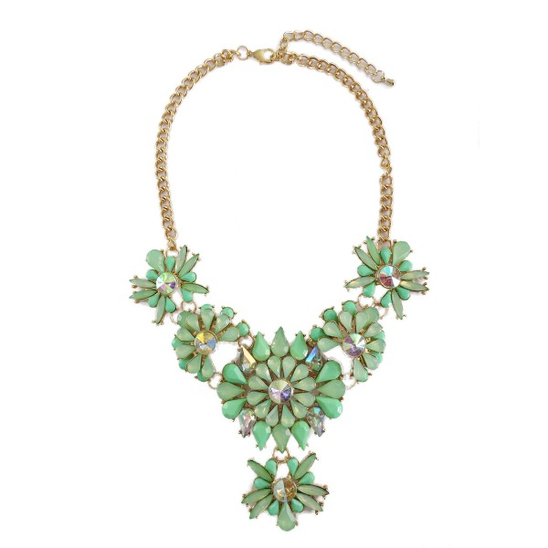 Pacific Opal Borealis Stone Flowers Bib Necklace