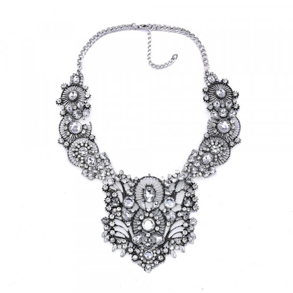 Antique Crystal Encrusted Filigree Statement Necklace