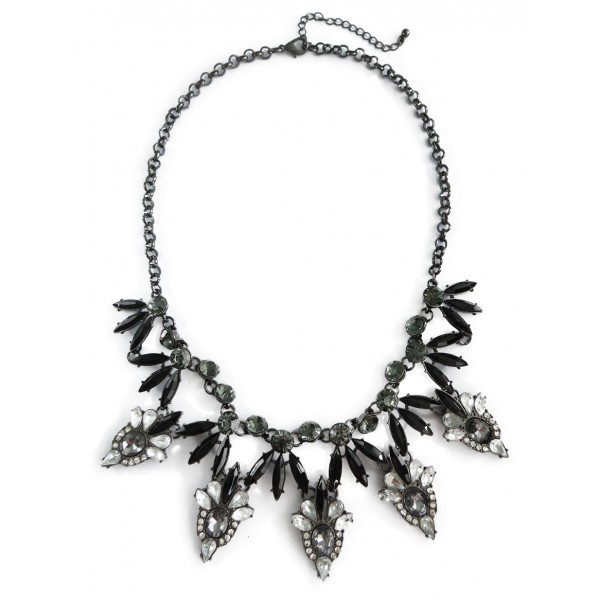 Onyx Smokey Crystal Laurel Marquise Glam Necklace
