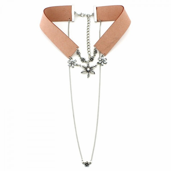 Suede Blush Collar Crystal Floral Choker Necklace