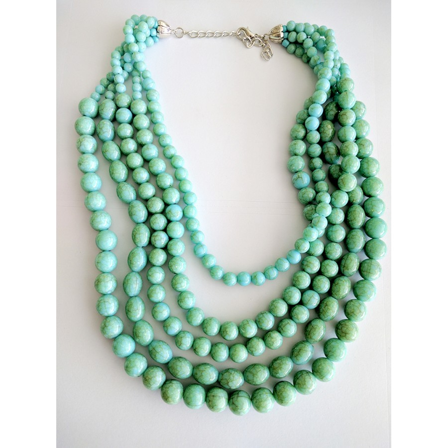 Natural Howlite Turquoise Faceted Beads Three Row Layered