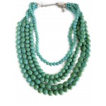 Turquoise Howlite Multi Strand Beaded Statement Necklace