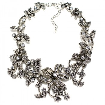 Vogue Silver Embellished Lilys Statement Necklace