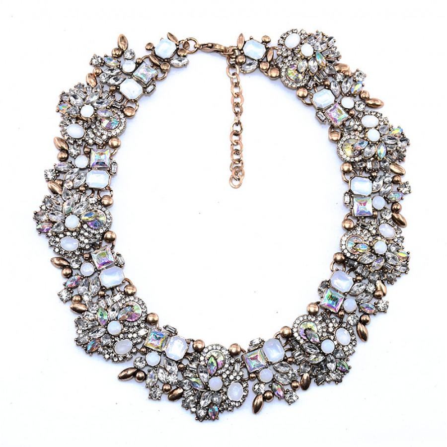 Ivory Seeki Aurora Borealis Crystal Cluster Statement Necklace