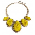 Yellow Mojova Geode Druzy Stone Bib Necklace