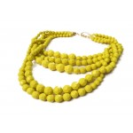 Canary Yellow Faceted Multi layered Pebbles Necklace