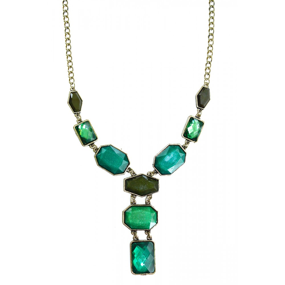 Emerald Ombre Geometric Antique Gold Stone Long Bib Y-Necklace - photo#45