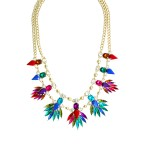 Peacock Jewel Tone Feathers Statement Necklace